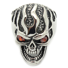 Stainless Steel Cool Charm Evil Red Eyeball Skull Ring Jewelry,New Arrival Gothic Biker Ring for Men Silver Black