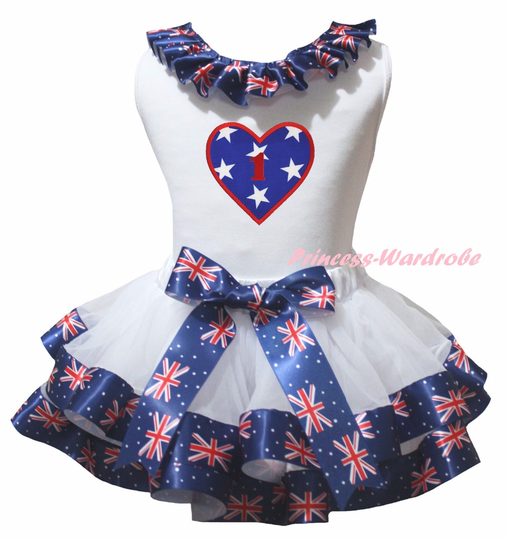 White Cotton Shirt British Flag Petal Skirt Girl Outfit Set Dress 1st-6th 4th Of July Costume Nb-8y LKPO0044 4th july patriotic rwb stripe heart skirt white top shirt girl clothing set 1 8y mapsa0624