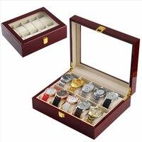 2017 New Fashion Watch Box 10 Pattern Wooden Screen Box Jewelry Organizer Storage Slot window watch box with Storage Box