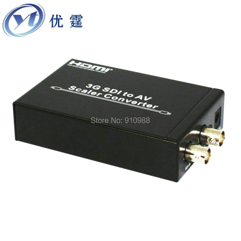 3G SDI to AV Scaler Converter sdi to cvbs sdi conver  PAL/NTSC-M RCA (CVBS L/R)CRT or HDTV 100M for 3G signals hdv s007 sdi to av scaler converter w cvbs sdi in sdi out rca black