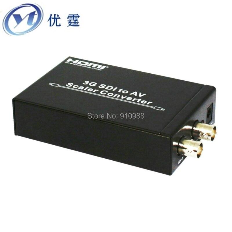 3G SDI to cvbs Scaler Converter sdi to rca conver PAL/NTSC-M RCA (CVBS L/R)CRT or HDTV 100M for 3G signals redamigo 100m hd 3g sdi to vga scaler converter audio video sdi to vga with power adapter for hdtv cctv pc