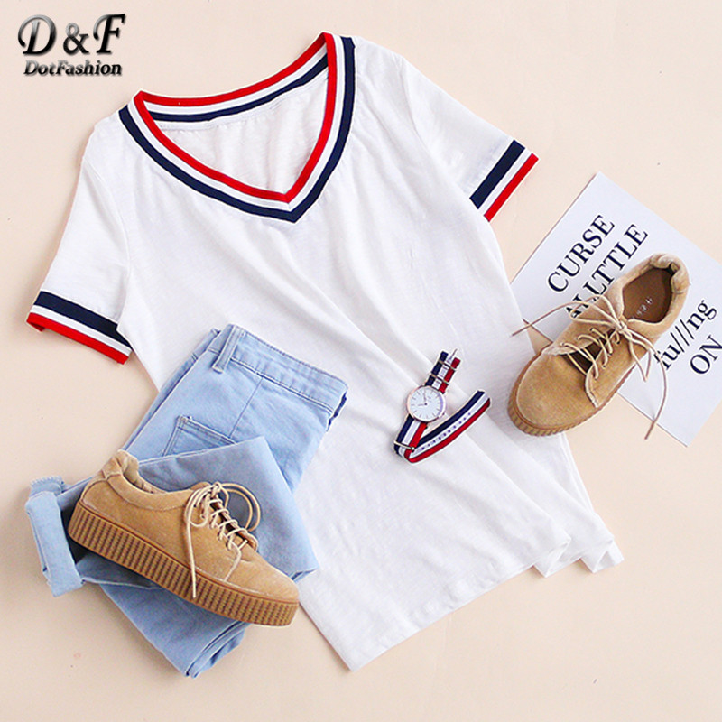 Dotfashion New Style Sommar Kvinnor Tees Lösa Toppar Basic Vit Striped Trim V Neck Kortärmad T-shirt