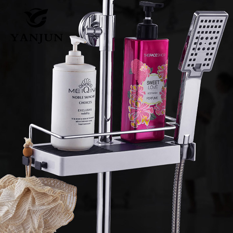 Yanjun Single Tier Shower Head Holder Bathroom Shelf Shower Storage Rack Holder Shampoo Bath Towel Tray