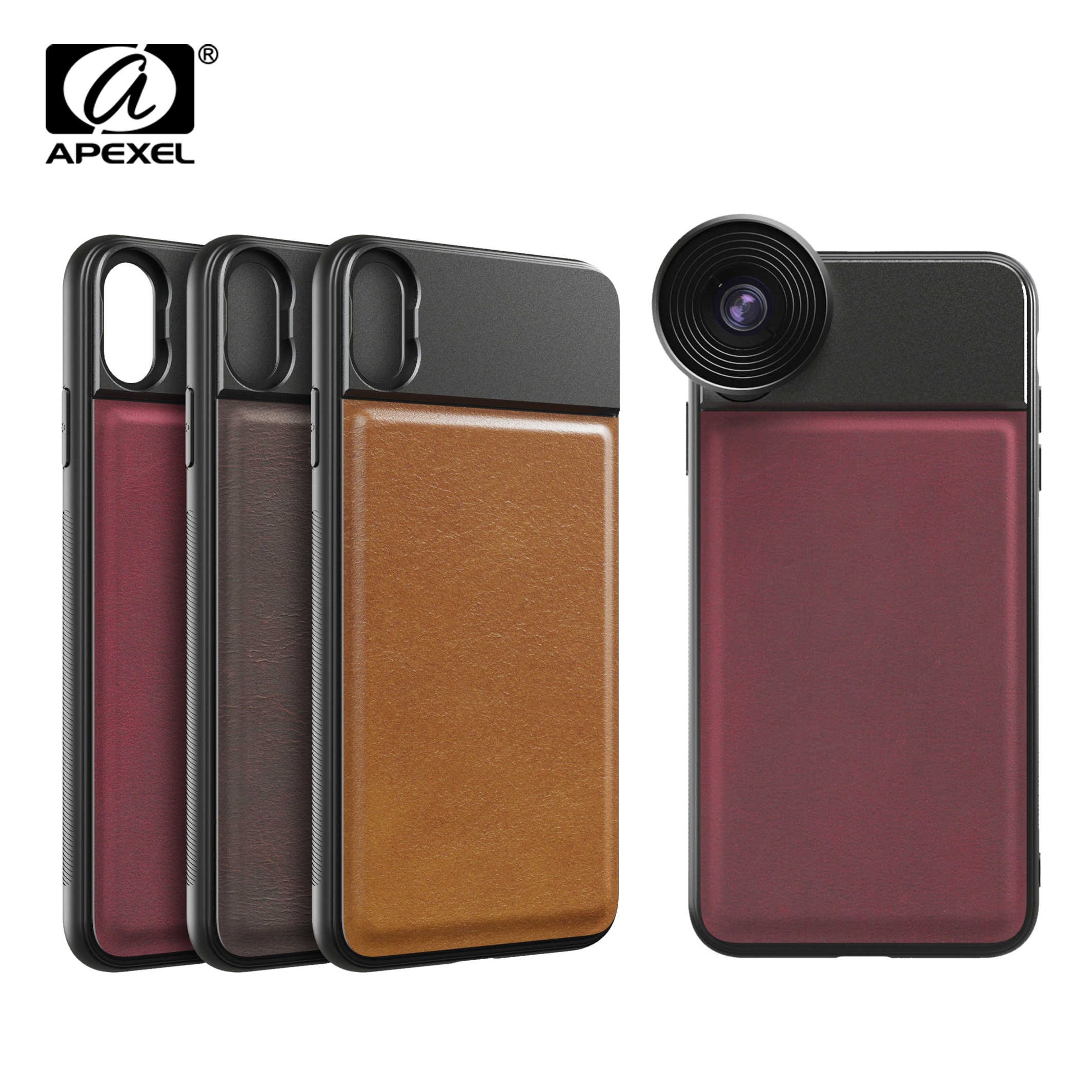 APEXEL High Quality Phone case cover leather phone caseswith 17mm thread for iPhone X XS max Huawei p20 p30 pro for phone lenses