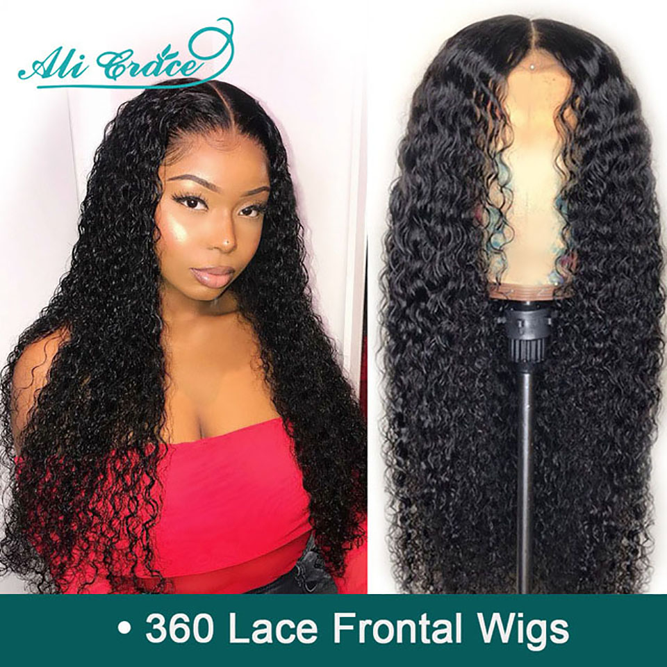Ali Grace 250% Density 360 Lace Frontal Wigs Brazilian Kinky Curly Wigs Pre Plucked With Baby Hair Remy Human Hair Wigs(China)