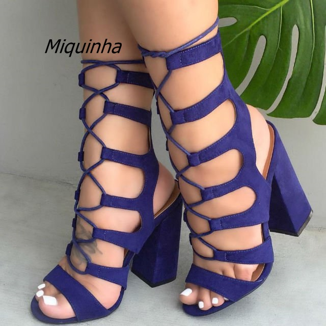 Fashion Navy Suede Cross Strap Block Heel Sandals Sexy Cut-out Open Toe Lace Up Heels Classy Slingback Chunky Heel Dress Sandals