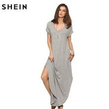 Шеин женщин лето свободного покроя сдвиг платья женщин серый V шеи с коротким рукавом прокат-манжеты карманы Макси платье