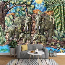 Southeast Asian style elephant woodcarving pastoral mural background wall specializing in mural photo wallpaper wallpaper 3d southeast asian style wooden boat 3d wallpaper mural balcony living room decoration background