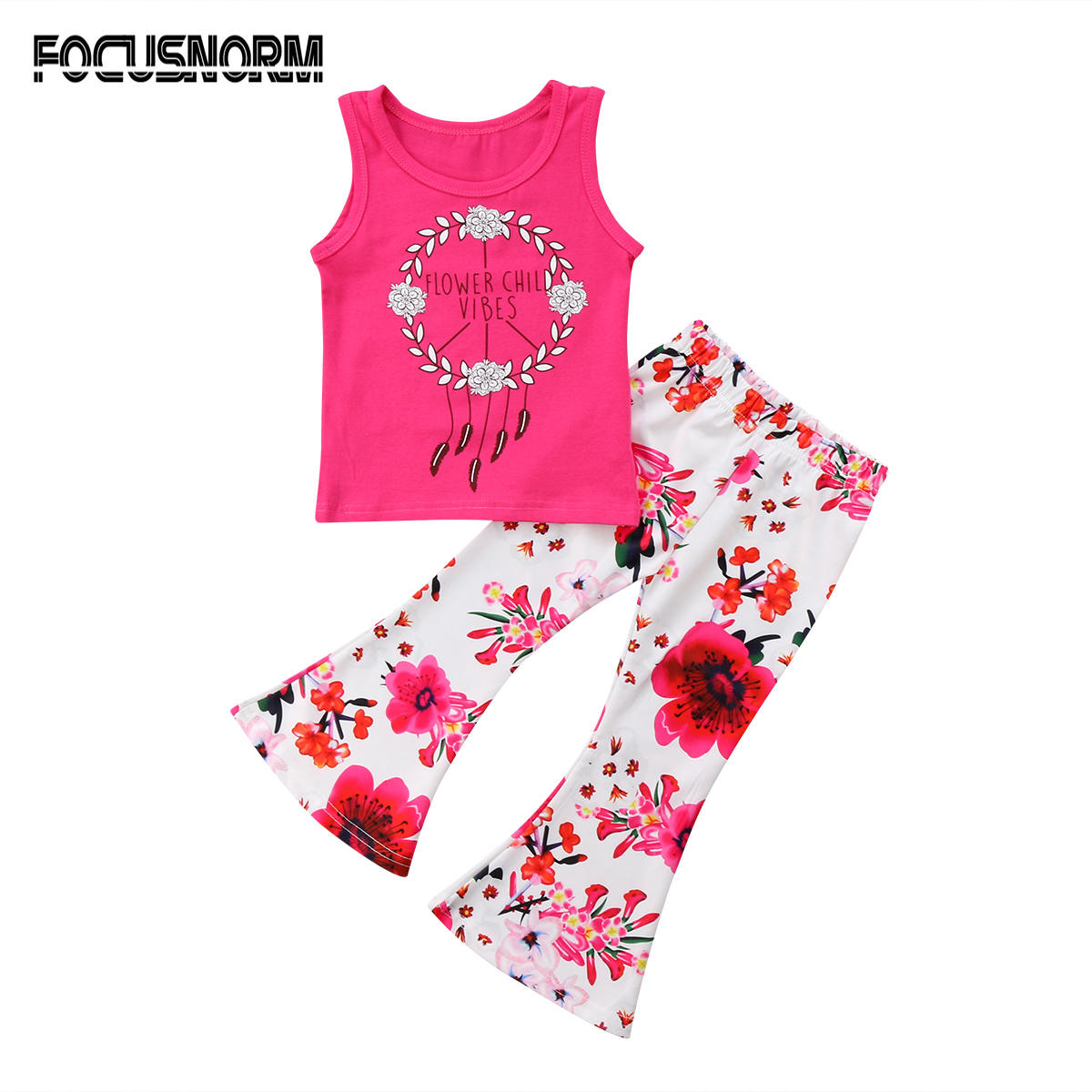 Baby Girls Kids Toddler Girls Printed Sleeveless T-shirt Tops+Floral Long Pants Outfit Clothes 2Pcs 2pcs children outfit clothes kids baby girl off shoulder cotton ruffled sleeve tops striped t shirt blue denim jeans sunsuit set