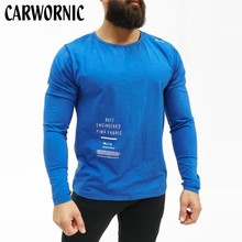 CARWORNIC Spring Autumn Gyms Muscle T Shirts Mens Cotton T-shirt Bodybuilding Fitness Clothes High Quality Tees Tops Clothing
