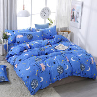 Blue Cartoon Bear Moon Printing Bedding Set Bedding Sets