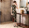 Chinese Women's Sexy Black Long Flower Dress Traditional Satin Qipao Cheongsam Casual Largo Vestidos S M L XL XXL XXXL C0035