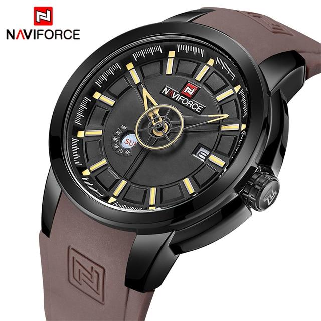 381b95a5f8e Mens Relógios Top de Luxo Da Marca NAVIFORCE Homens Relógio Esportivo Único  Data Relógio de Quartzo
