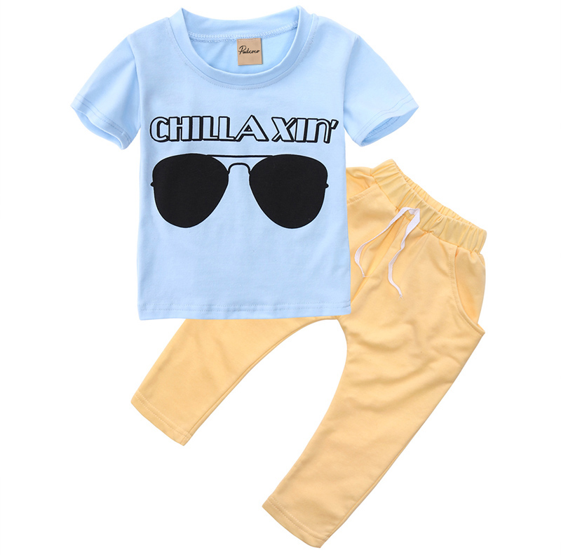Fashion 2pcs Newborn Toddler Kids Baby Boys Girls Outfits T-shirt Tops+Pants Clothes Set Boys Summer clothing 2pcs children outfit clothes kids baby girl off shoulder cotton ruffled sleeve tops striped t shirt blue denim jeans sunsuit set