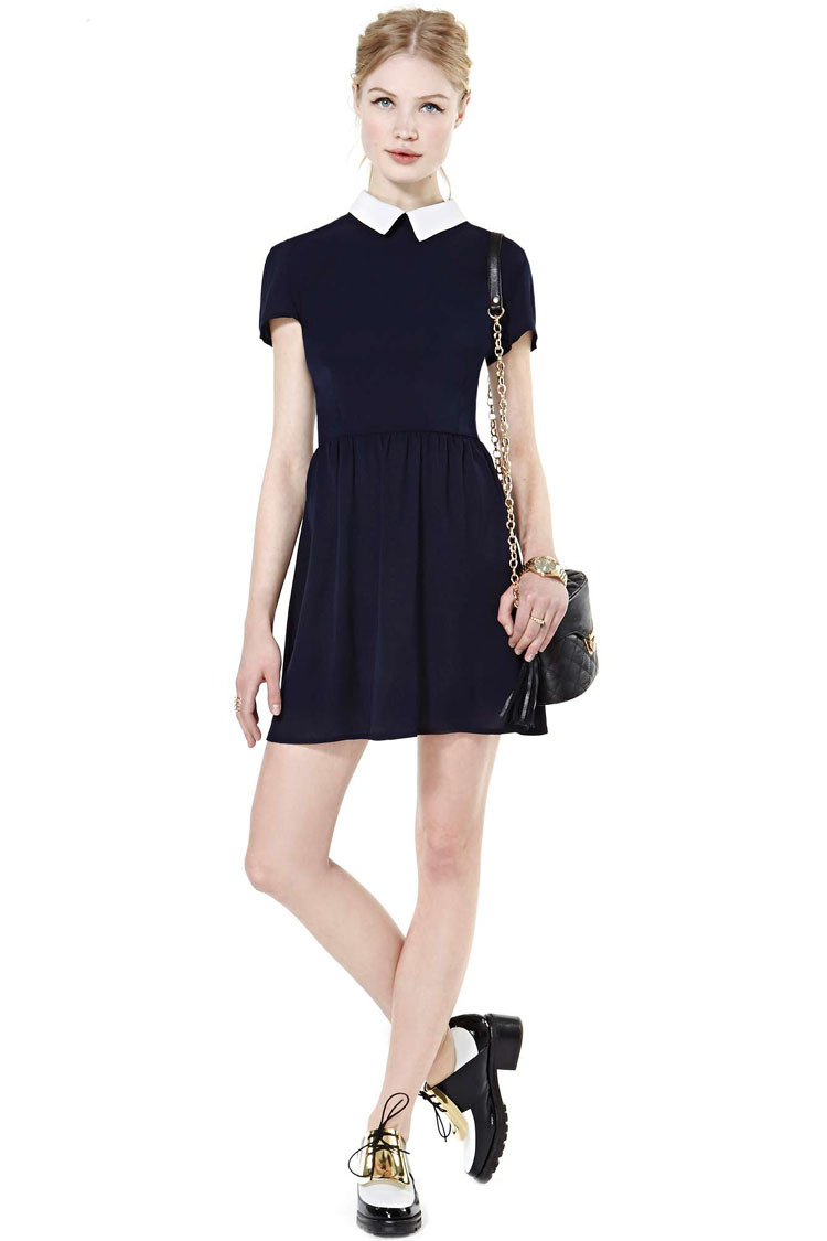 Black dress with white peter pan collar - Online Shop New European And American Retro Black And White Peter Pan Collar Short Sleeve Casual Dress Party Dresses Women Summer Dress 2015 Aliexpress