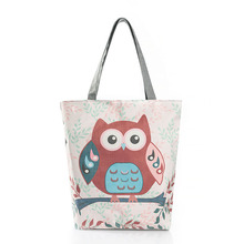 Women Shoulder Bag Cartoon Owl Print Casual Tote Beach Single Bolsa Shopping Bags 2017 New Arrival
