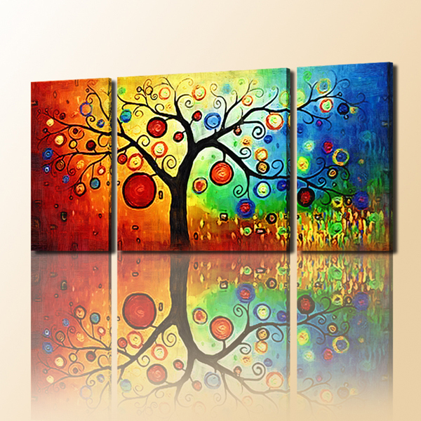3 Panel Canvas Art With Easy Tree Painting Oil Painting