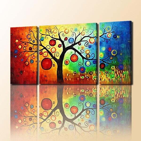 Super 3 Panneau Toile Art avec Facile Arbre Peinture Peinture À L'huile  ER74