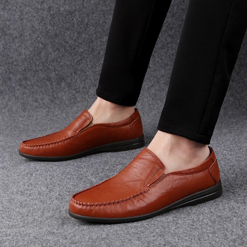 الرجال الأحذية عارضة حقيقية جلد البقر 2019 جديد الانزلاق على المتسكعون الذكور البني الأسود شقة حذاء رجل أحذية قيادة مريحة ل الرجال-في أحذية رجالية غير رسمية من أحذية على  مجموعة 3