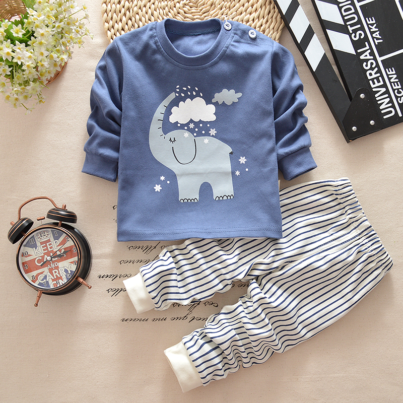 2019 New Baby Boys Clothing Set Kids Pajamas Suit Children Tracksuit Boys Long Shirt + Trousers Sleepwear Casual Clothes