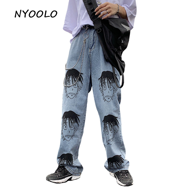 NYOOLO Harajuku Vintage Comic Portrait Hip Hop Loose Denim Pants Casual Full Length Straight Jeans For Men And Women Streetwear