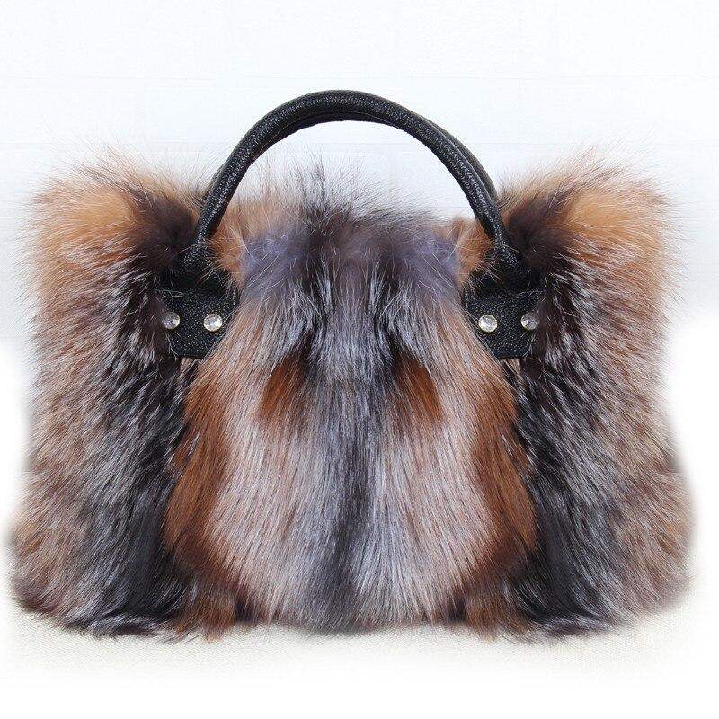 Fourrure de renard grand sac 2018 nouveau dames de luxe réel fourrure de renard sac grande taille sac à main épaule sac cadeau paquet diagonale b4