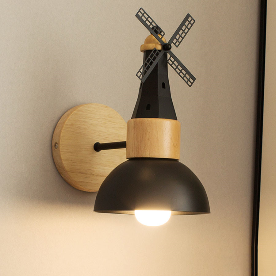 Thrisdar Nordic Minimalist Wooden LED Wall Lamps Windmill Bedside Wall Light Modern Hotel Study Room Staircase Aisle Wall light in Wall Lamps from Lights Lighting