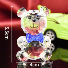 Crystal Animal Ornaments Bear Paperweight Quartz Glass Fengshui Crafts Figurines Home Wedding Decoration Gifts Souvenirs