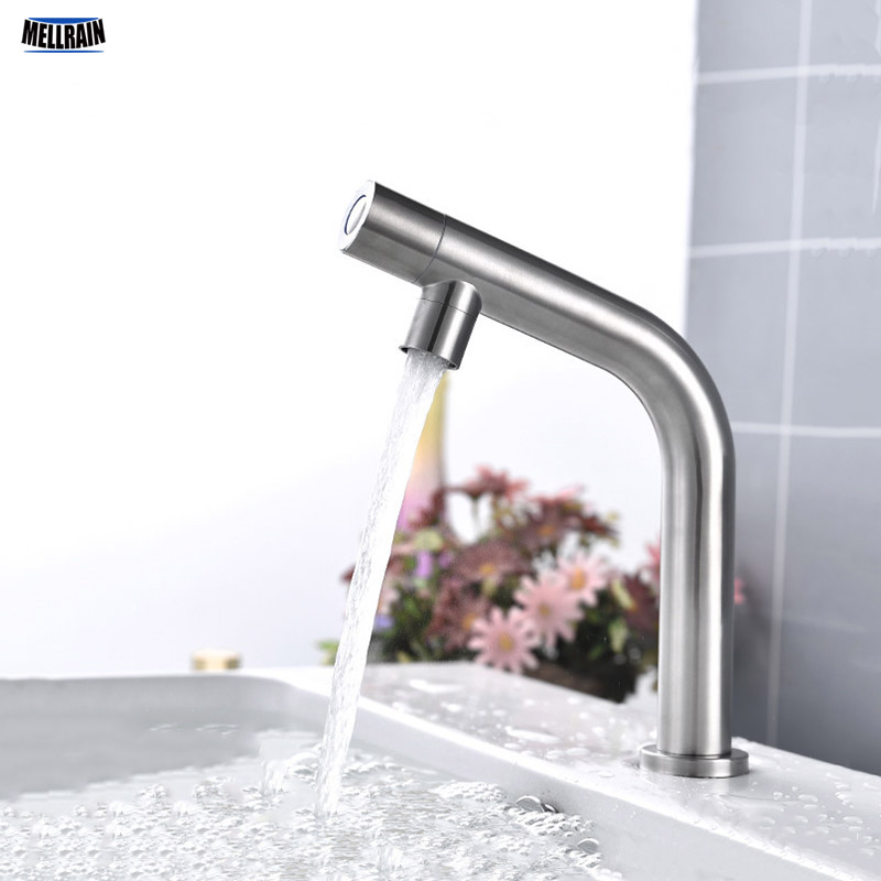 Single Cold Basin Water Tap Stainless Steel Deck Mount Bathroom Faucet Balcony & Garden Water Tapware