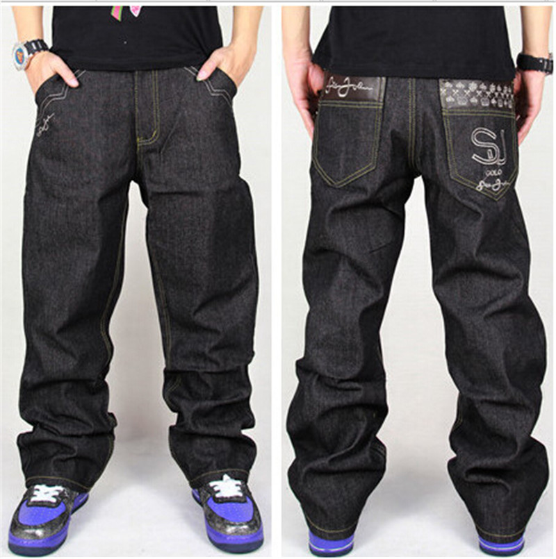 ФОТО Men's Black Baggy Jeans Hip Hop Skateboard Pants Loose Style Plus Size 30-44 True HipHop Rap Jeans Boy