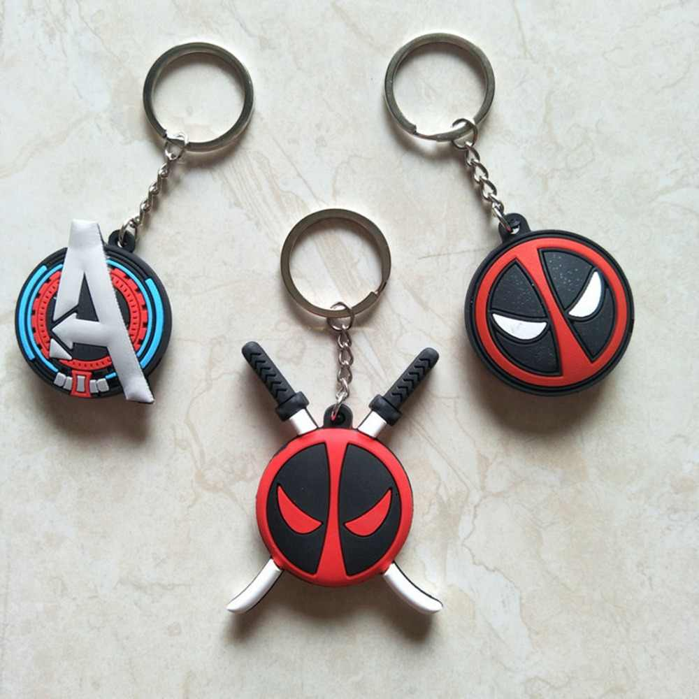 Avengers Captain America cosplay PVC keychain Marvel Deadpool fashion personalized pendant keyrings Accessories breloki kids toy