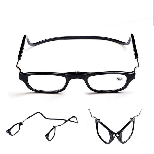 4d6cfb00a متعدد الألوان للطي مغناطيس الرجال النساء نظارات للقراءة الملونة البلاستيك  المغناطيسي للجنسين شنق للطي Presbyopic نظارات