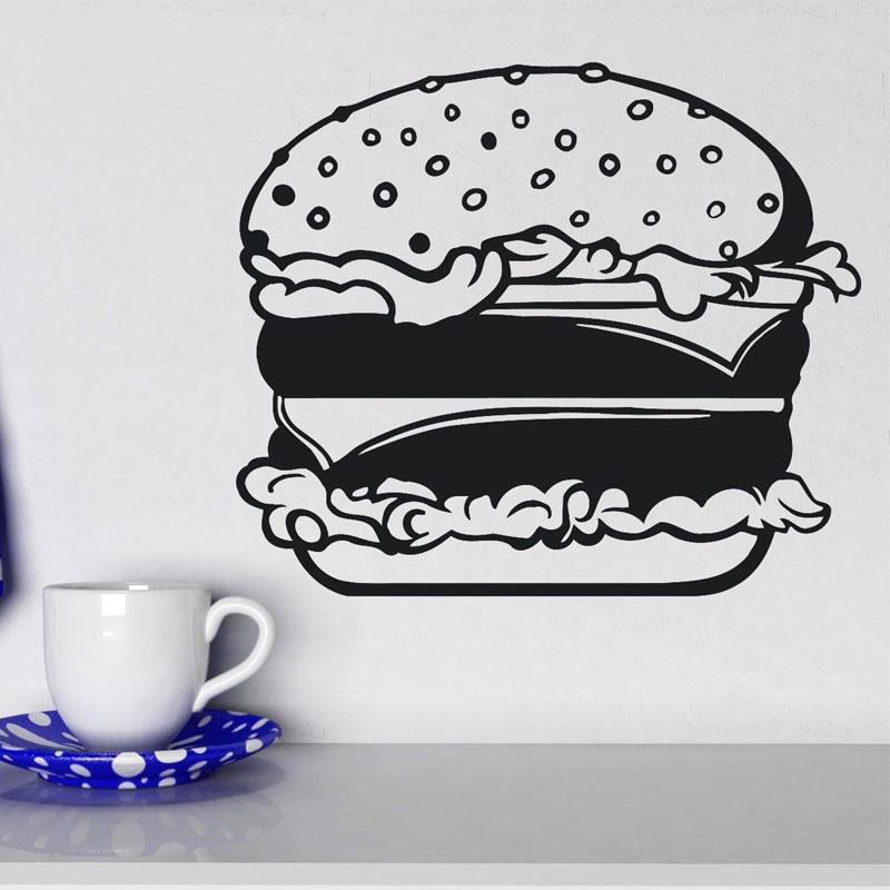 Fastfood Hamburger Bun Cheese Salad Wall Sticker Vinyl Interior Kitchen Decal Removable Mural Wallpaper 3164