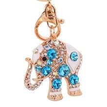 Elefante Rhinestone Llavero Del Encanto Del Bolso de Las Mujeres de la CZ Diamond Llavero Amante de Cristal Titular de La Clave Bolsa de Accesorios Regalo de San Valentín K49