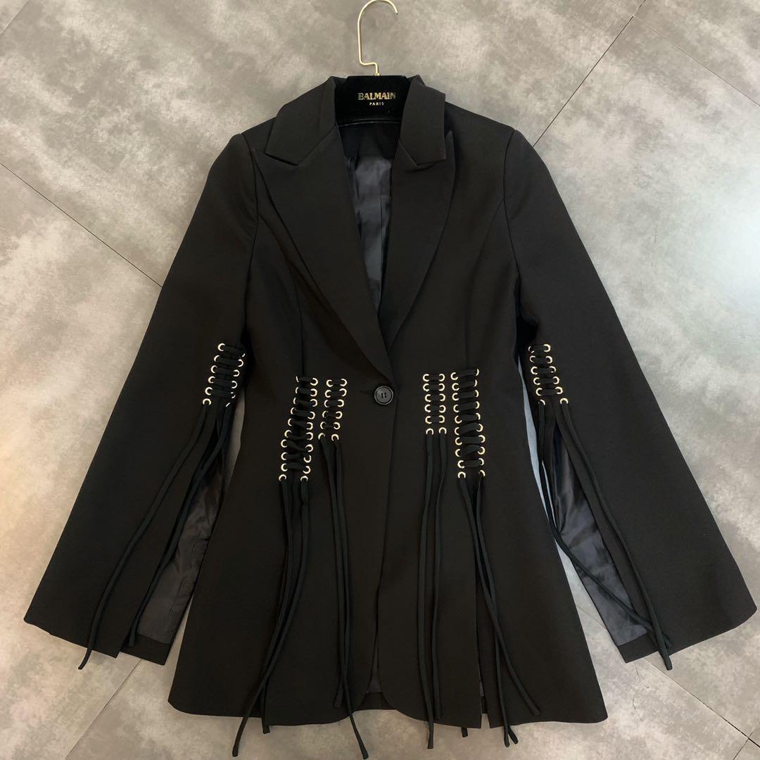 2019 early autumn new lapel split long-sleeved braided tie waist suit jacket female