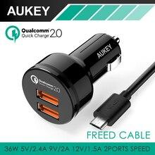 Aukey QC 2.0 36 W 2 Puertos USB de Carga Rápida cargador de Coche adaptador de puerto para el coche de doble turbo rapid para htc lg tablet más