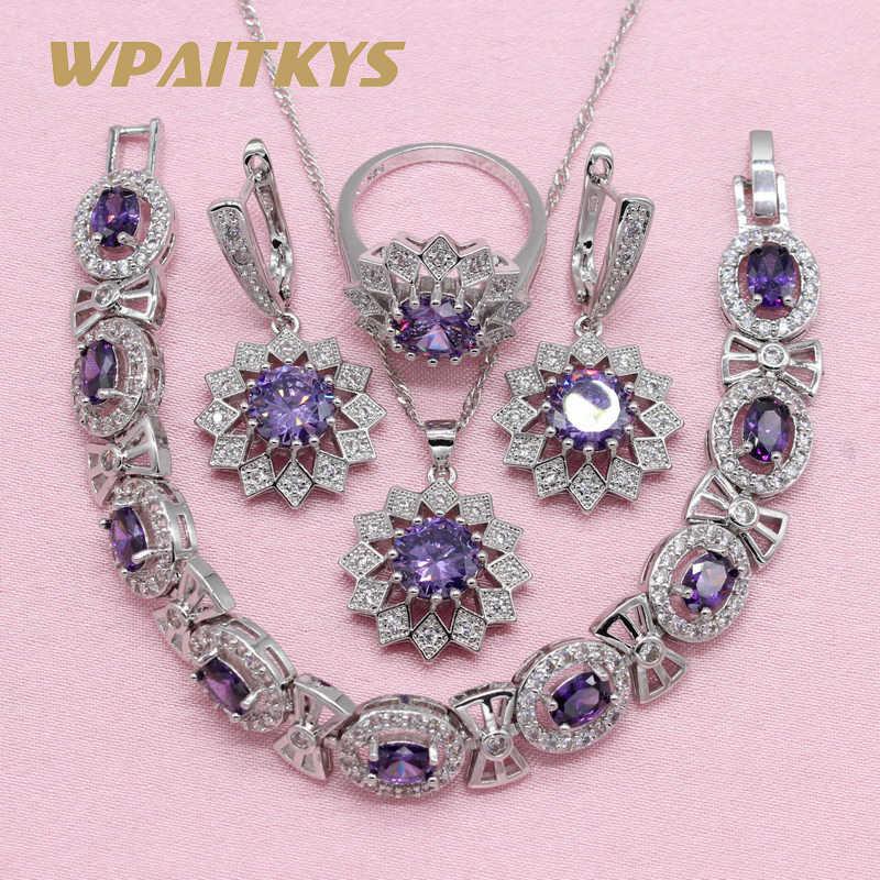 2018 новый благородный фиолетовый кубический циркон 925 серебряные ювелирные наборы для женщин серьги в форме цветов кулон ожерелье кольцо браслет