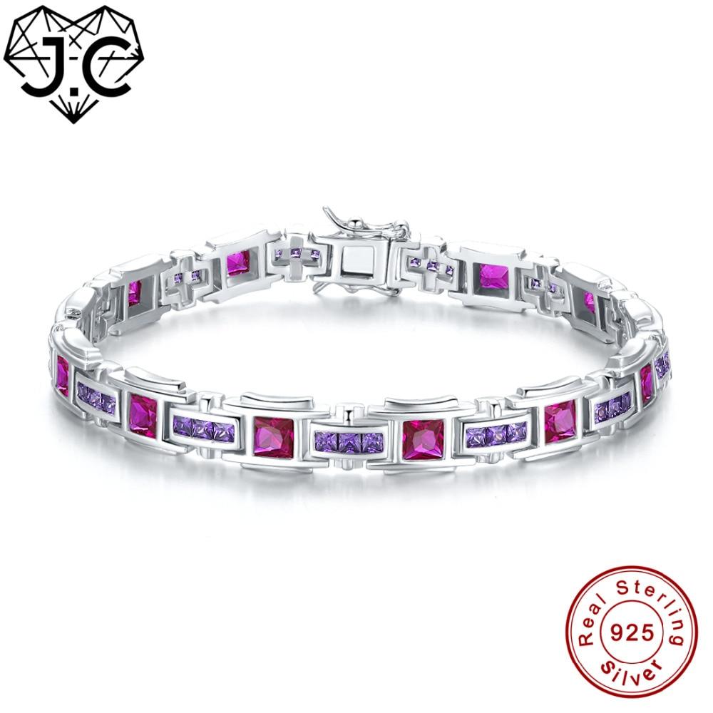 JC Femmes Fille Magnifique Tourmaline & Sapphire et Ruby & Améthyste Topaze Fine Bijoux Solide 925 Sterling Argent Exquis Bracelets