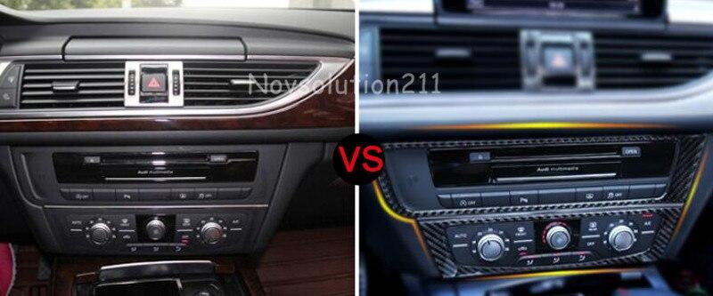 Carbon Fiber Center Control Decorative Cover Trim For Audi A7 4G 2010 2016