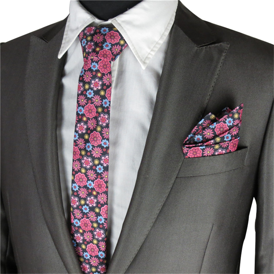 Floral Ties For Men Wedding Party Narrow Necktie Floral