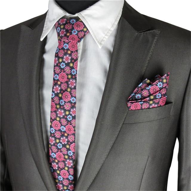 6d9fec68a03c Floral Ties For Men Wedding Party Narrow Necktie Floral Bow Tie Pocket  Square Men's Tie Set