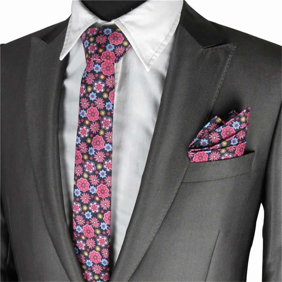 ec20f51d2b1e Floral Ties For Men Wedding Party Narrow Necktie Floral Bow Tie Pocket  Square Men's Tie Set