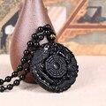 Envío de la gota Negro Obsidiana Talla Dragón y Phoenix Collar Colgante de Obsidiana Suerte Colgantes