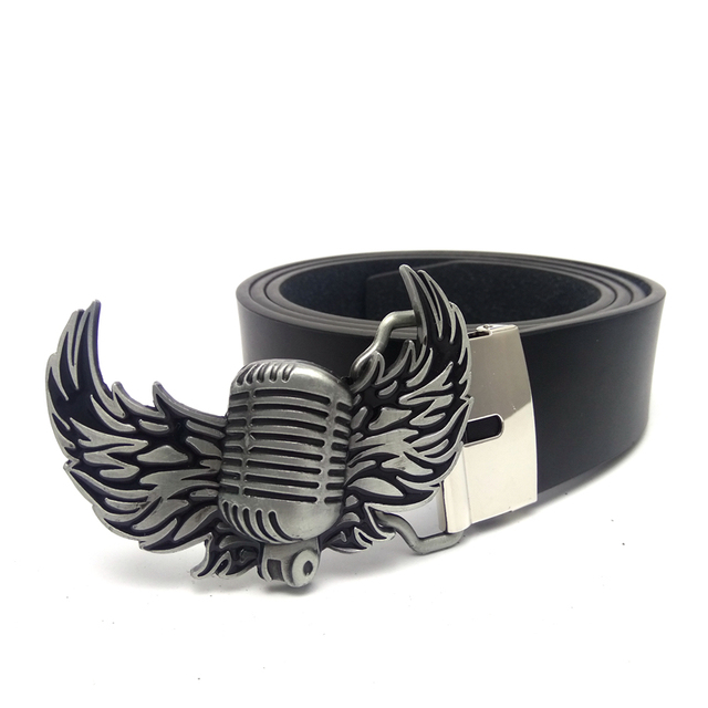 47b3c85d Male accessories Black PU leather belt men with rock style Wings Microphone belt  buckle metal mens big buckle for belt jeans
