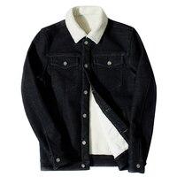 2017 Men Winter Denim Jacket Black Fuax Fur Collar With Fleece Jean Coat Casual Jacket Outwear