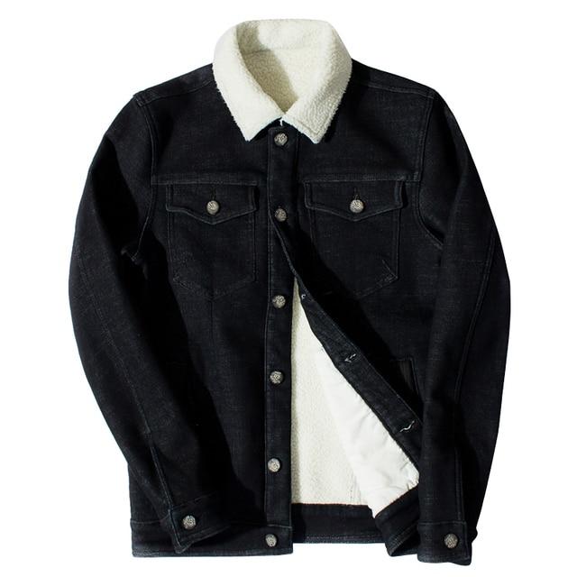 e7eb0badc639 2017 Men Winter Denim Jacket Black Fuax Fur Collar With Fleece Jean Coat  Casual Jacket Outwear Wool Thick Clothes Plus Size