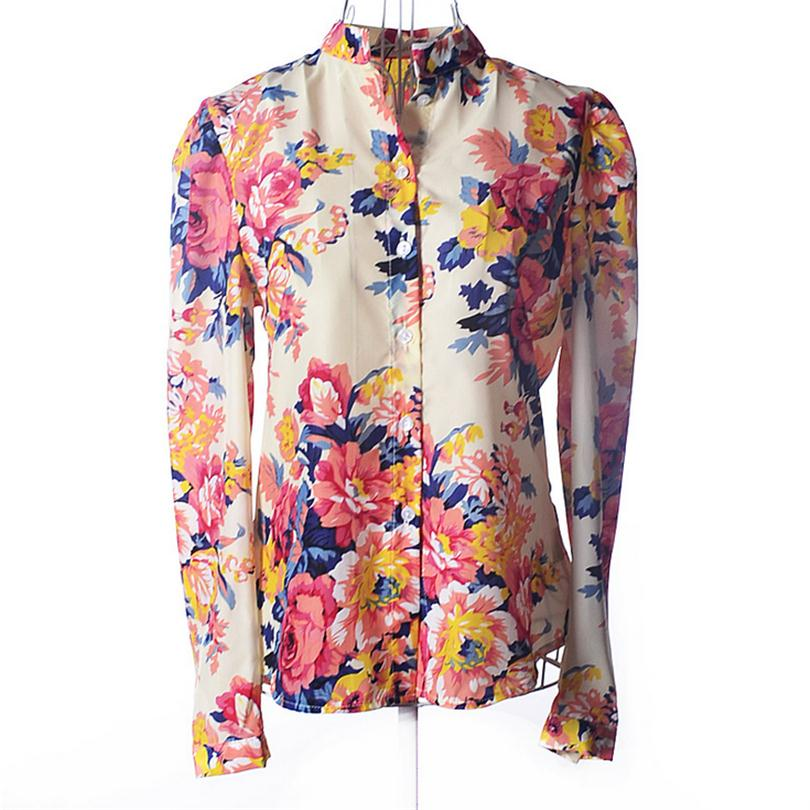 Floral T Shirts Cotton Shirts Women Casual Fashion Ladies Top Stand