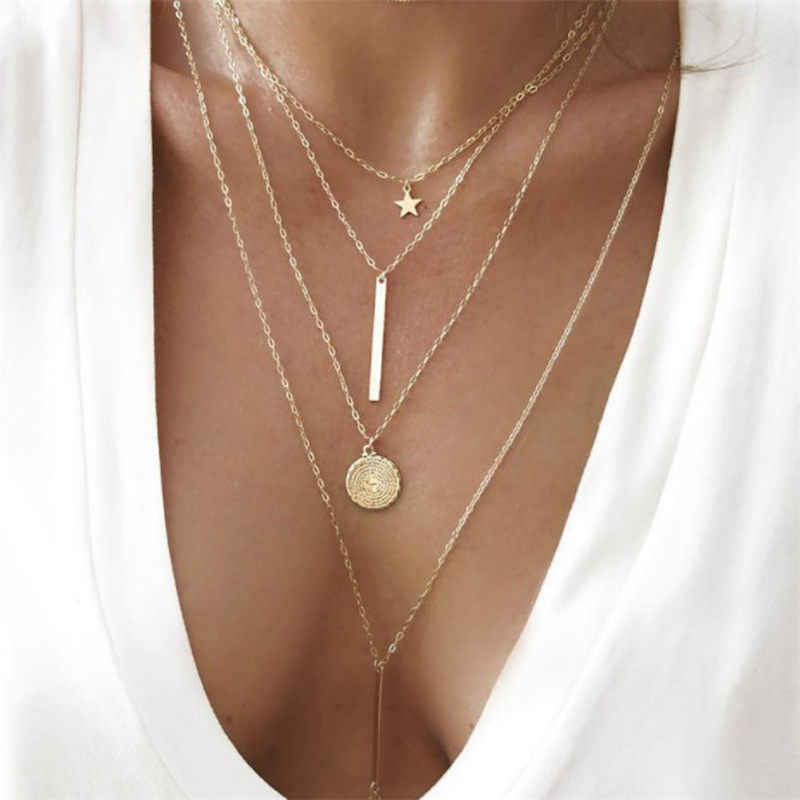 Bohemain Crystal Star Sequins Coins Bar Pendant Chain Necklace For Women Gold Color Multi Layer Statement Necklaces