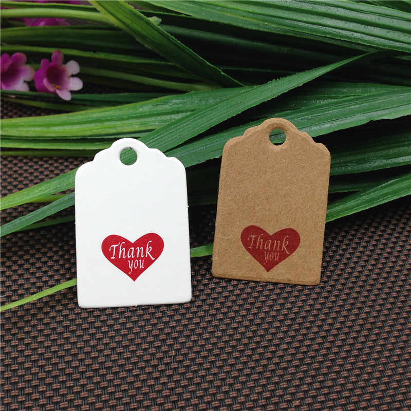 100 stücke 3x2 cm nette Scallop kopf mini hand gemacht mit liebe Kraft papier tags danke etiketten label geschenk tag preis tags