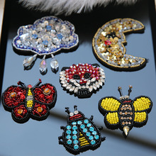 1pc 3D Handmade animals rhinestone beaded Patches for clothing Bee leopard butterfly applique Embroidery patch floral
